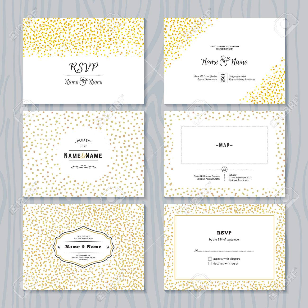 Rsvp Cards Set With Gold Confetti Borders Vector Wedding