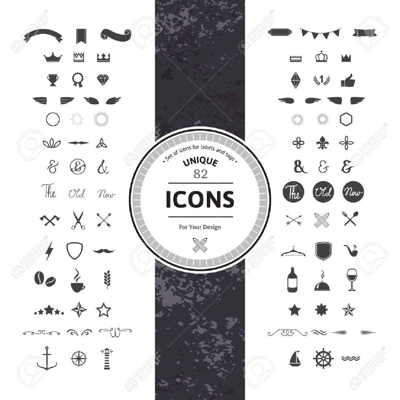 Fantastische Set Von Hipster Icons Und Symbole Für Moderne Labels ...
