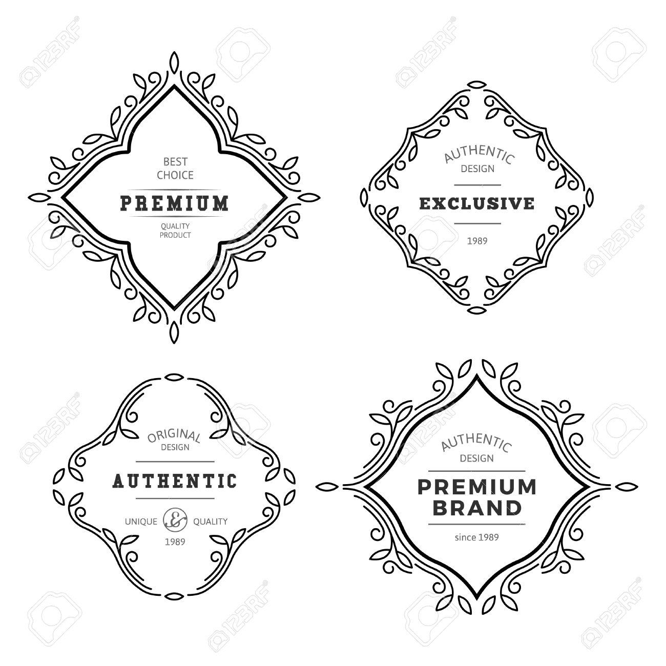 vector monogram decorative frame vintage linear flourishes
