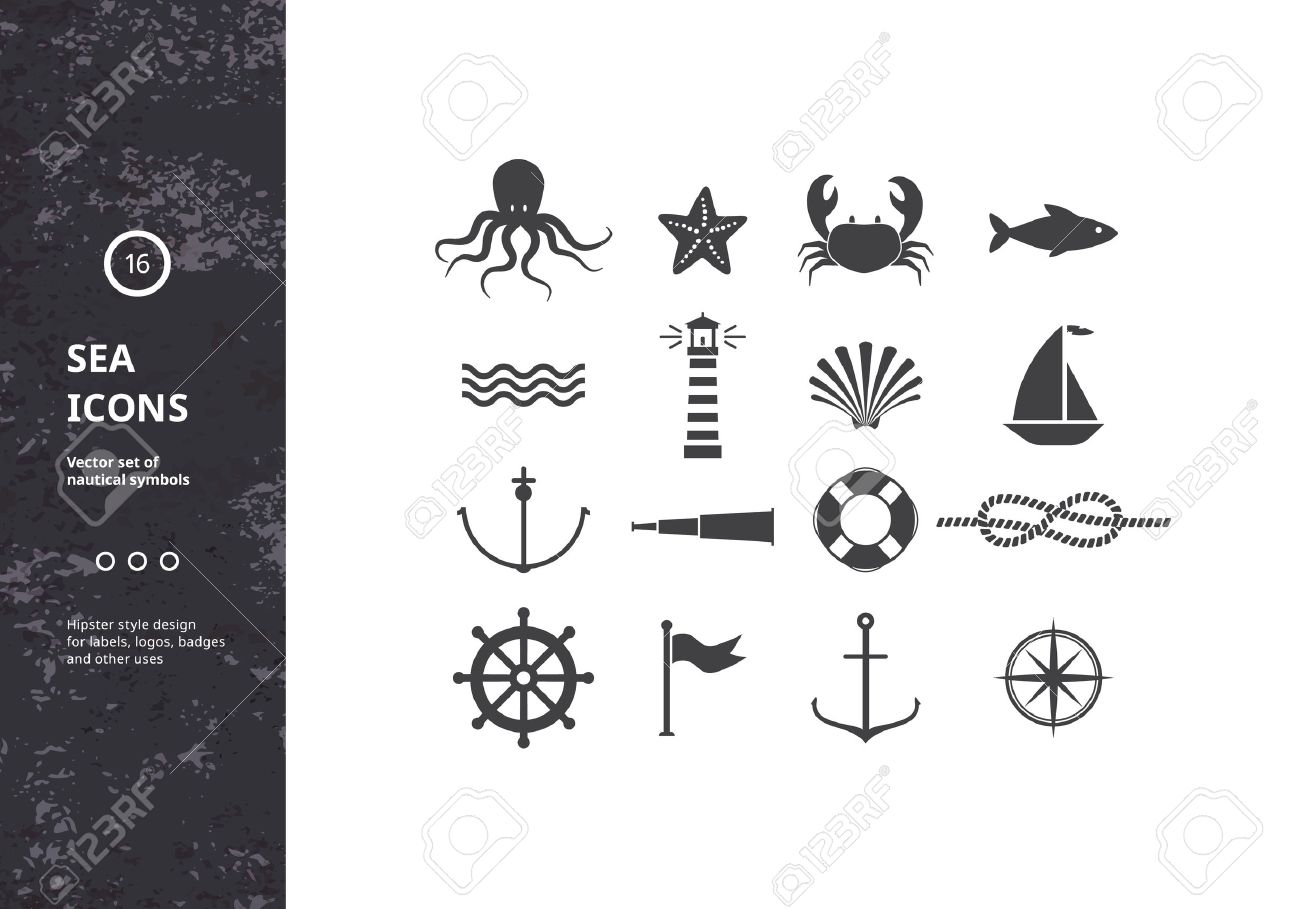 Vector Set Of Nautical Icons Sea Symbols Silhouettes Hipster