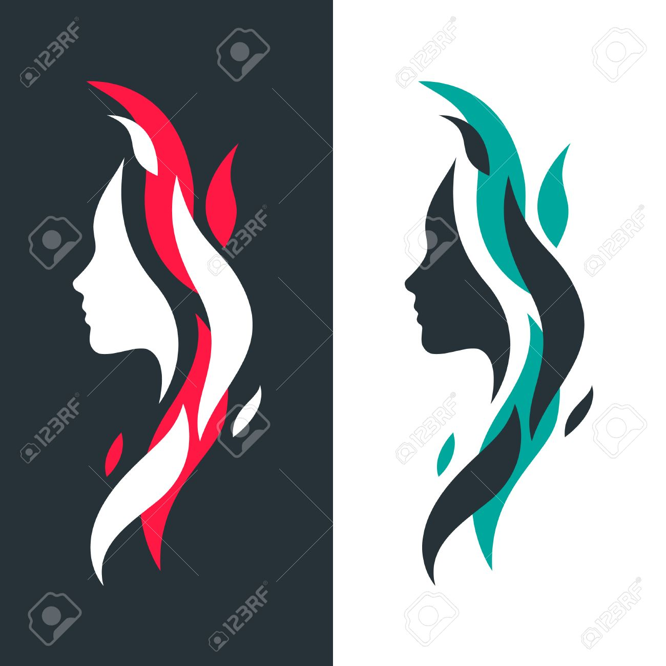 set of female profiles with abstract colorful waves vector logo rh 123rf com vector logo free vector logo file