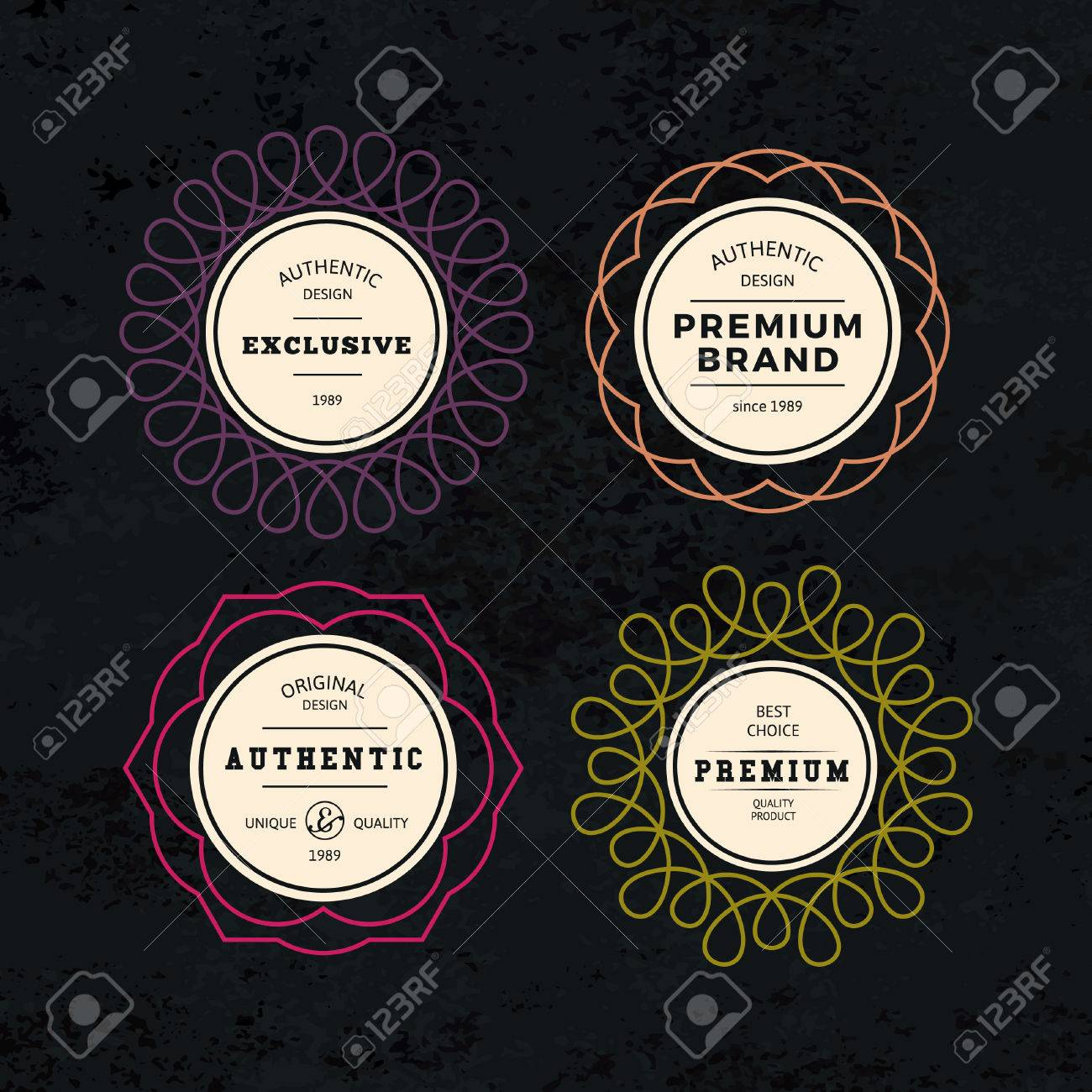 set of elegant labels with frames authentic retro vector tags