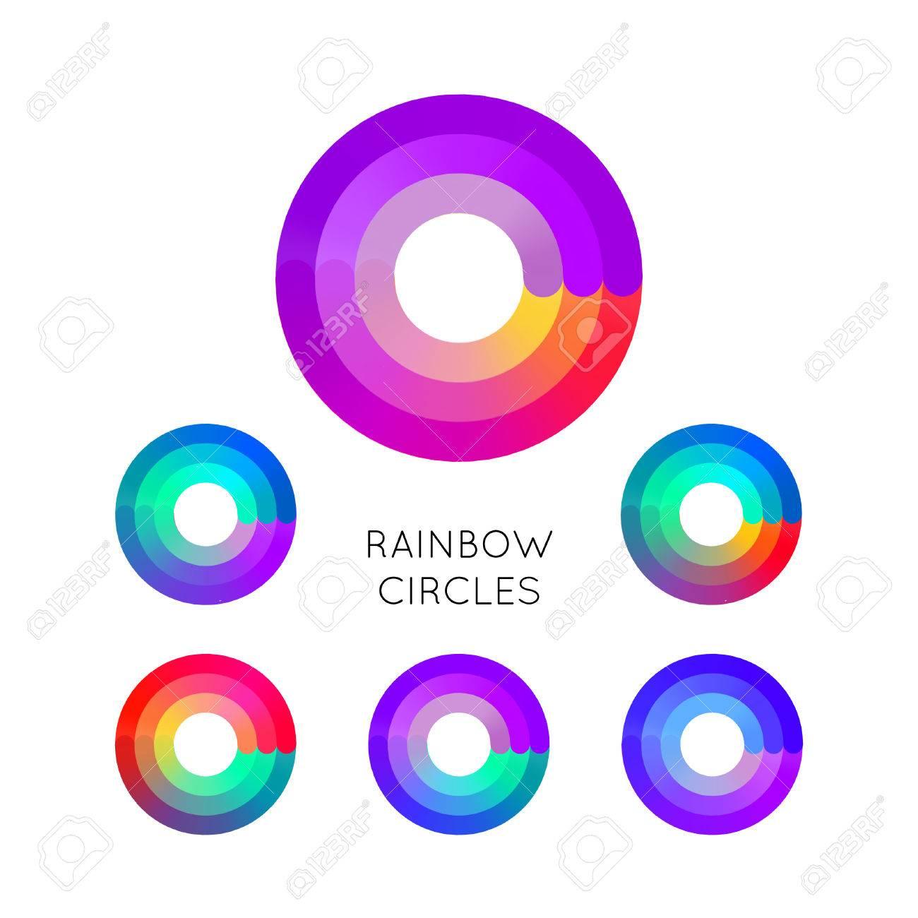 Set of Bright Colorful Circle Symbols Isolated on White Background. - 50772837