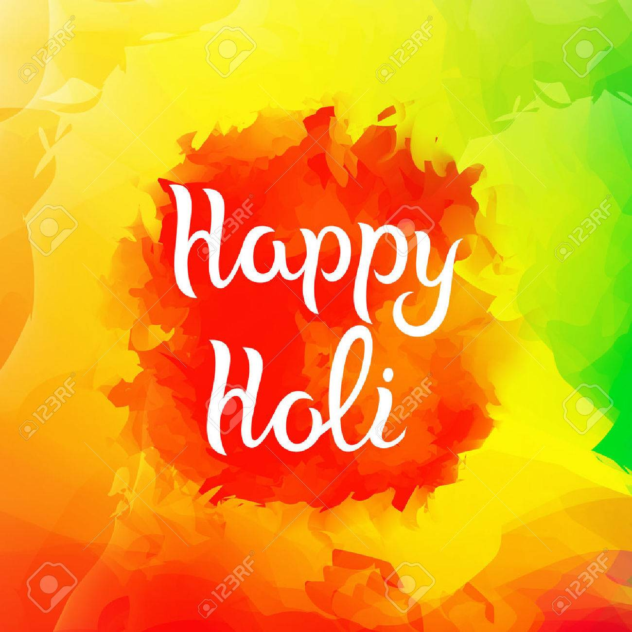 Colorful Background With Paint Splashes Happy Holi With Text