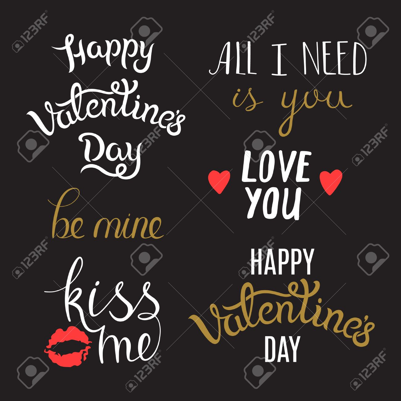 Awesome lettering phrases on st valentines day typography awesome lettering phrases on st valentines day typography set foe cards and holiday m4hsunfo