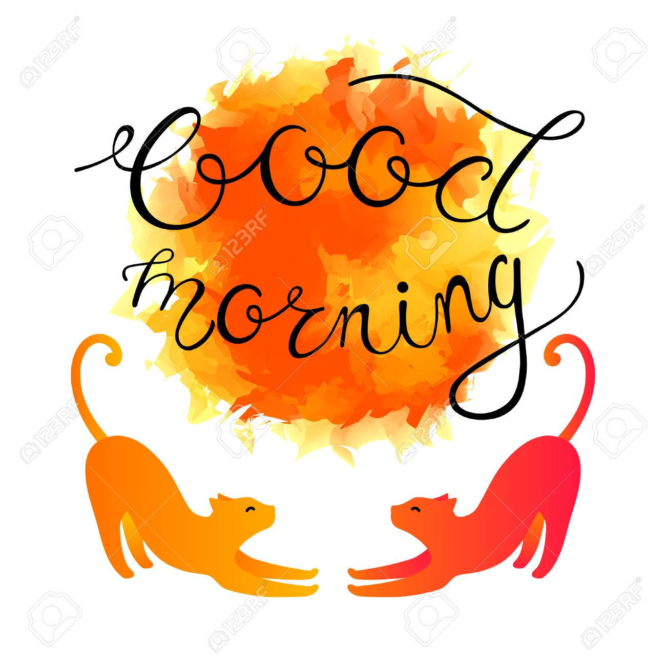 Good Sunny Morning Greeting Card Vector Illustration With