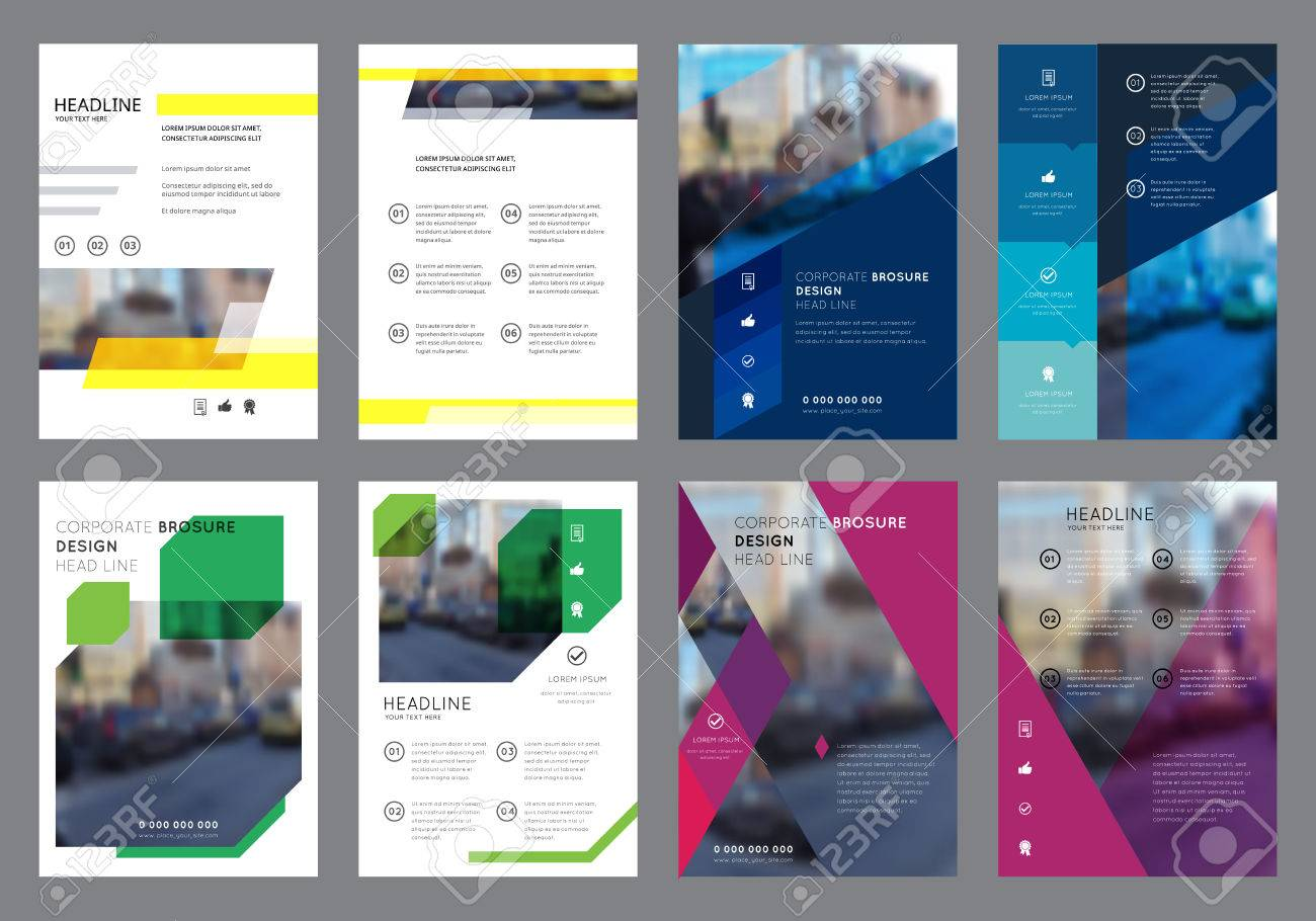 Vector Colorful Flyers Design Template. Vertical Geometric Brochure Layout Concepts. Leaflet Cover Presentation. Abstract Flat Background. - 57683758