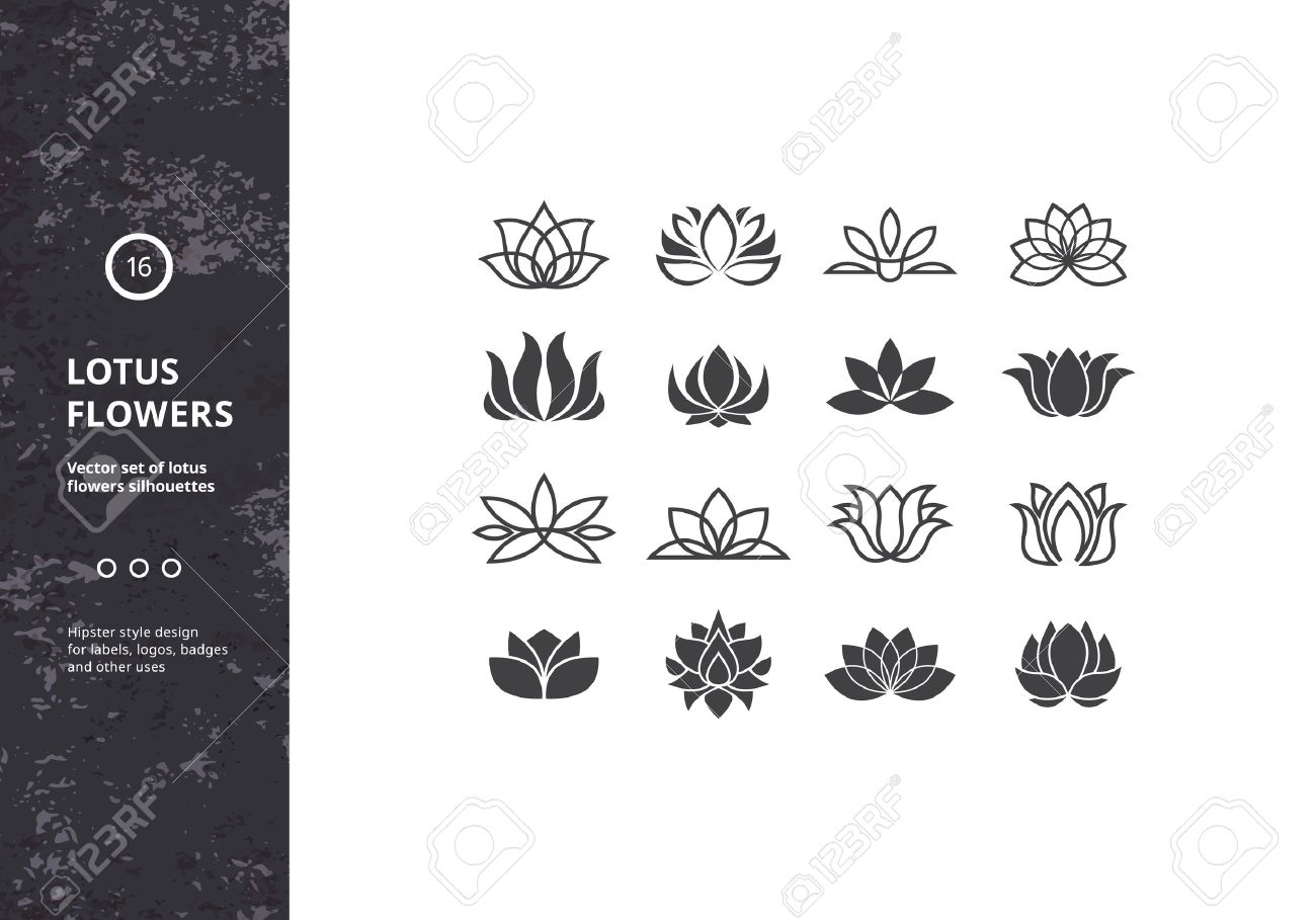 Lotus flower tattoo designs stock photos royalty free lotus flower lotus flower icons set of template water lily shapes hipster designs for labels izmirmasajfo Choice Image