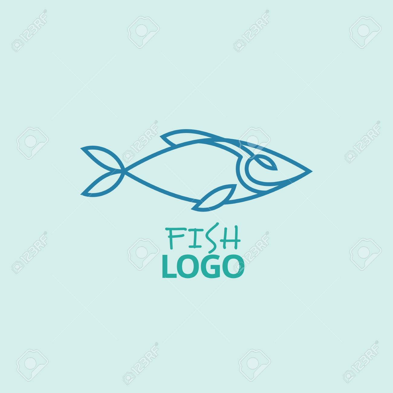 Minimalist Vector Logo Of Blue Fish Symbol For Seafood Restaurants