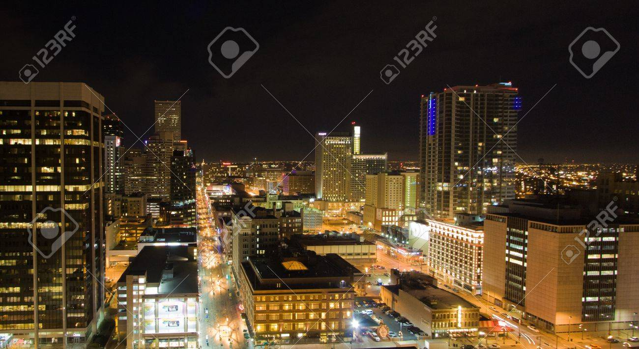 Illuminated Downtown Denver Skyline From High Above Clock Tower Stock Photo - 17102620