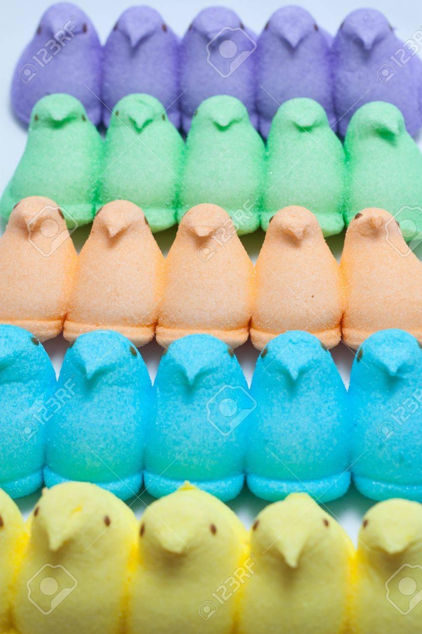 Yellow, Blue, Orange, Green and Purple Marshmallow Peep Chicks Stock Photo - 18533648