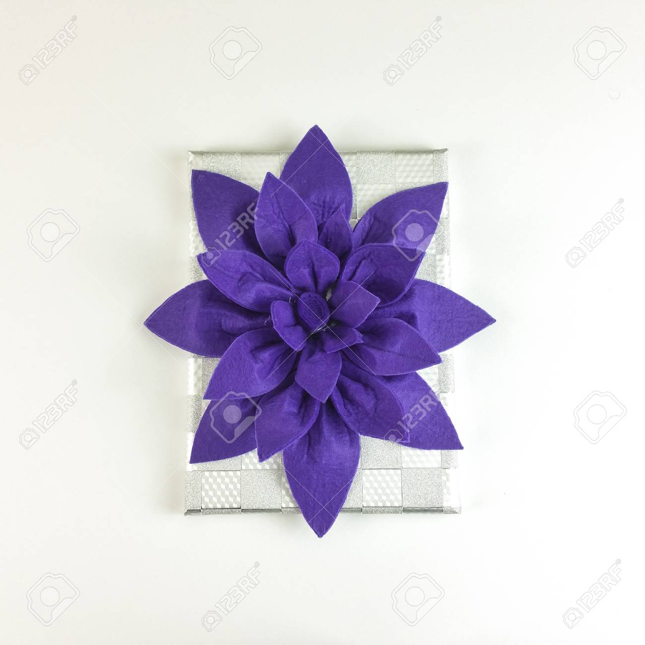 Homemade Felt Purple Flower Centerpiece With Cup Holders And Stock Photo Picture And Royalty Free Image Image 94969380