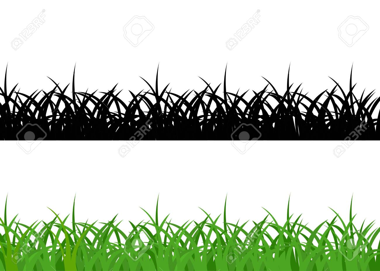 Grass borders, green and black on white background - 140022006