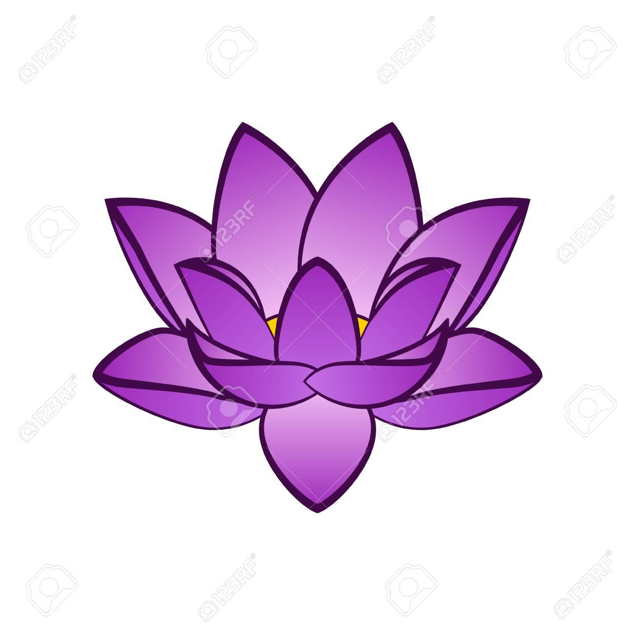 Simple Violet Lotus Flower Vector Illustration Isoleted Aquatic