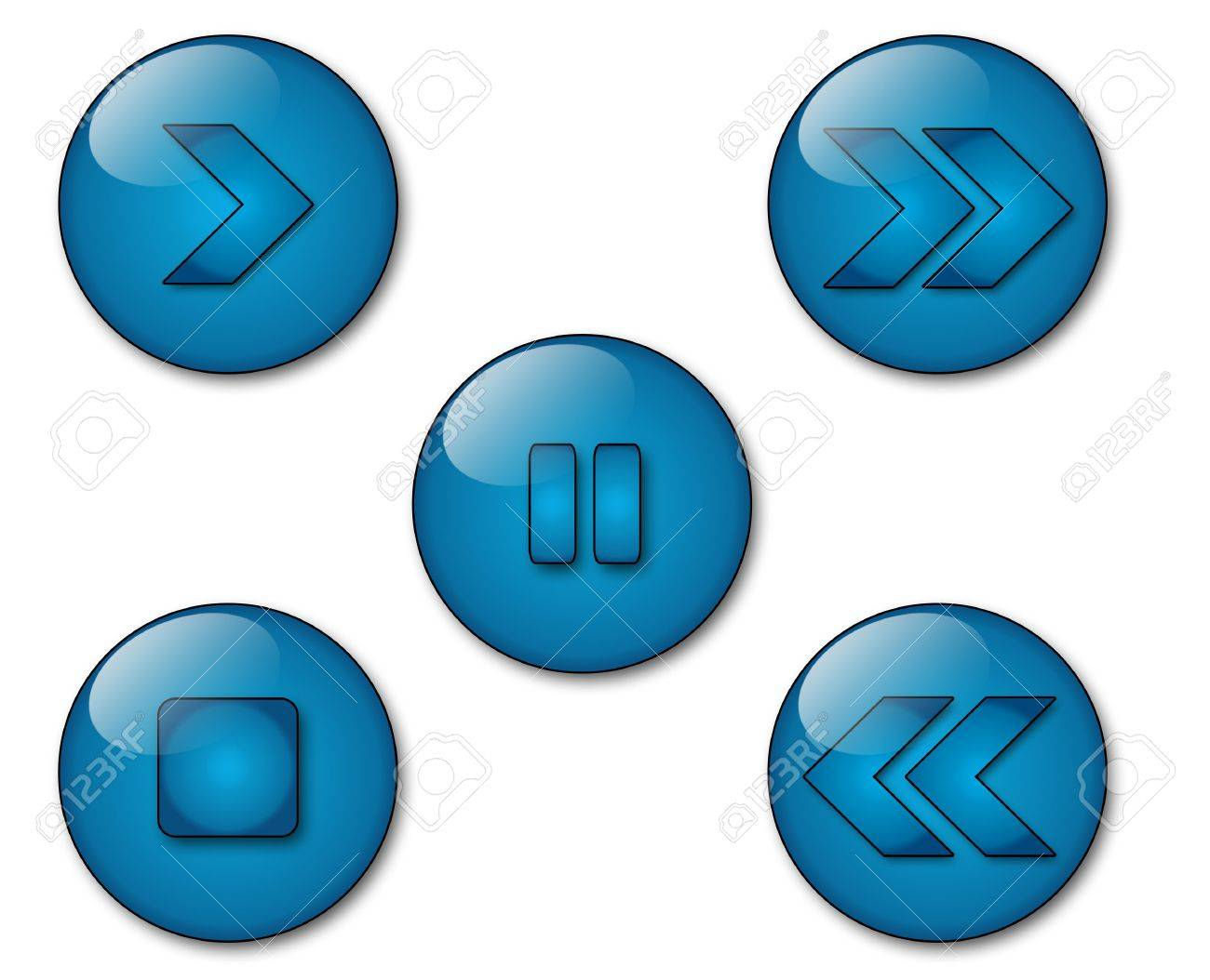 Some aqua style icons with vcr symbols stock photo, picture and.