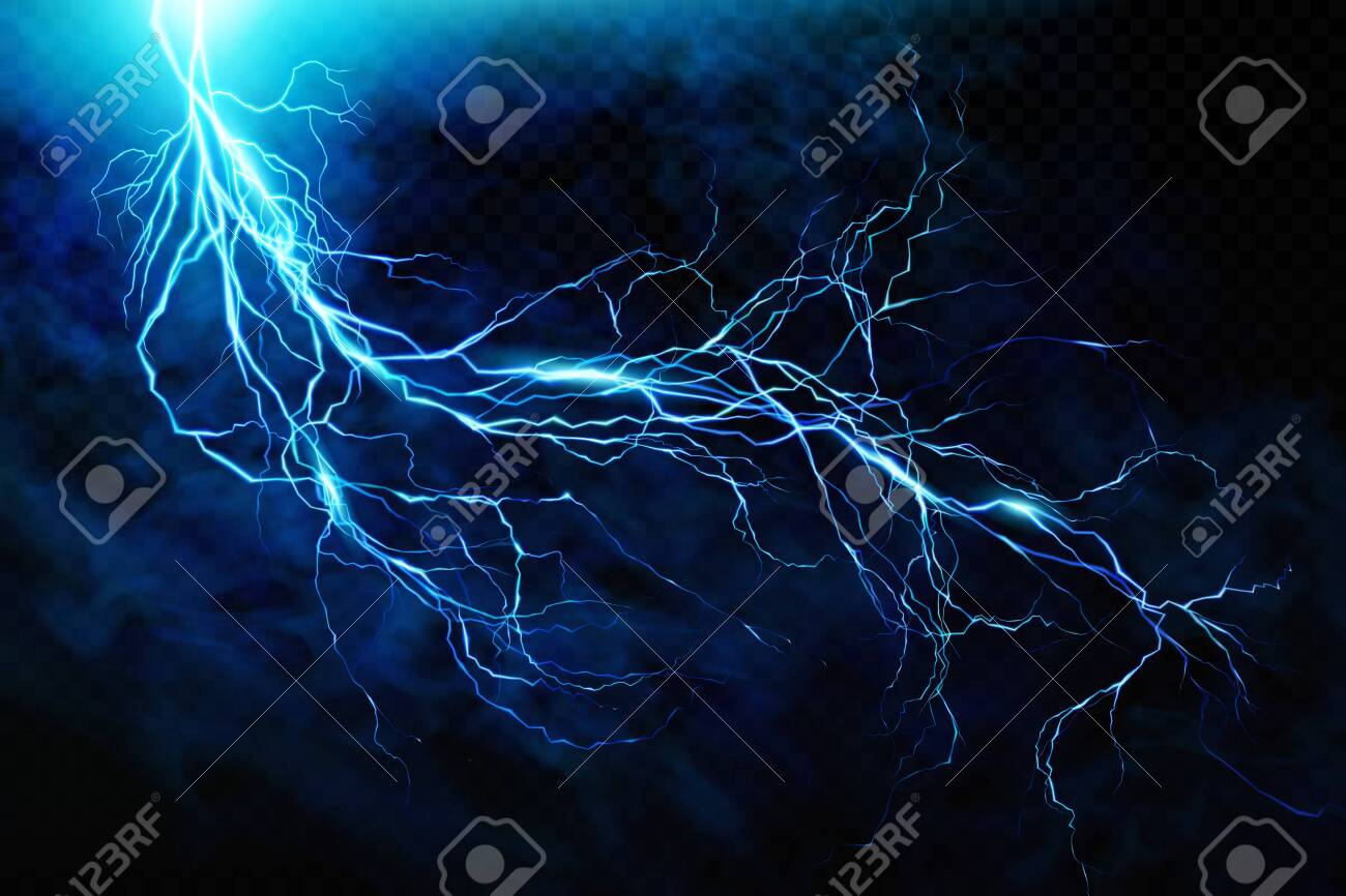 Big lightning on the skyA flash of lightning against a background of thunderclouds. Natural energy. Transparent elements. Vector - 142869890