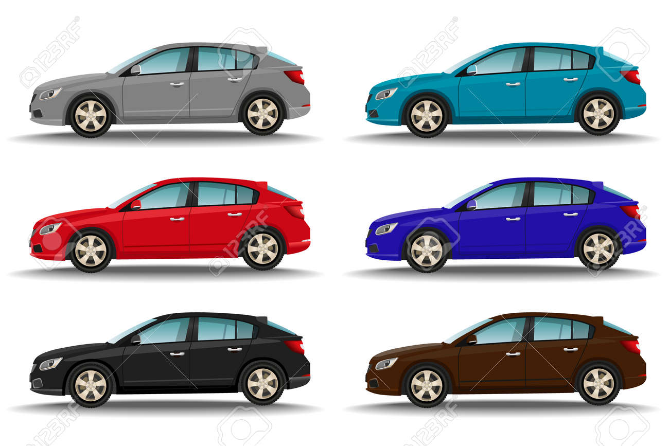 Set of six different colors cars on white background. Hatchback vehicles side view. Family transport concept. Vector illustration. - 159949461