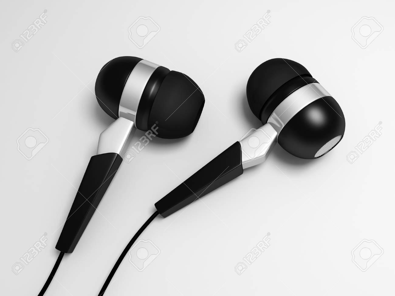 Illustration numérique de l'écouteur dans le fond blanc écouteur