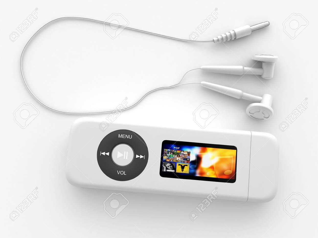 Illustration numérique du lecteur MP3 avec des écouteurs dans un fond blanc