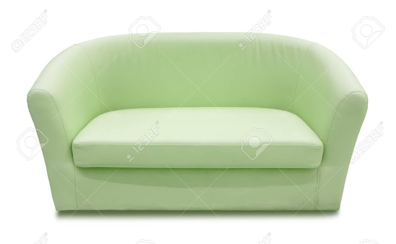 Green leather sofa isolated on white background stock photo 109489668