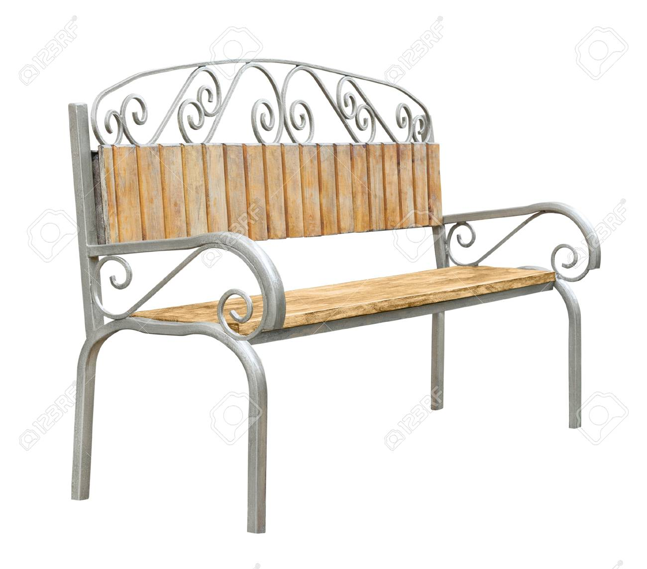 Side View On A Wooden Bench With Metal Legs Armrests And Floral