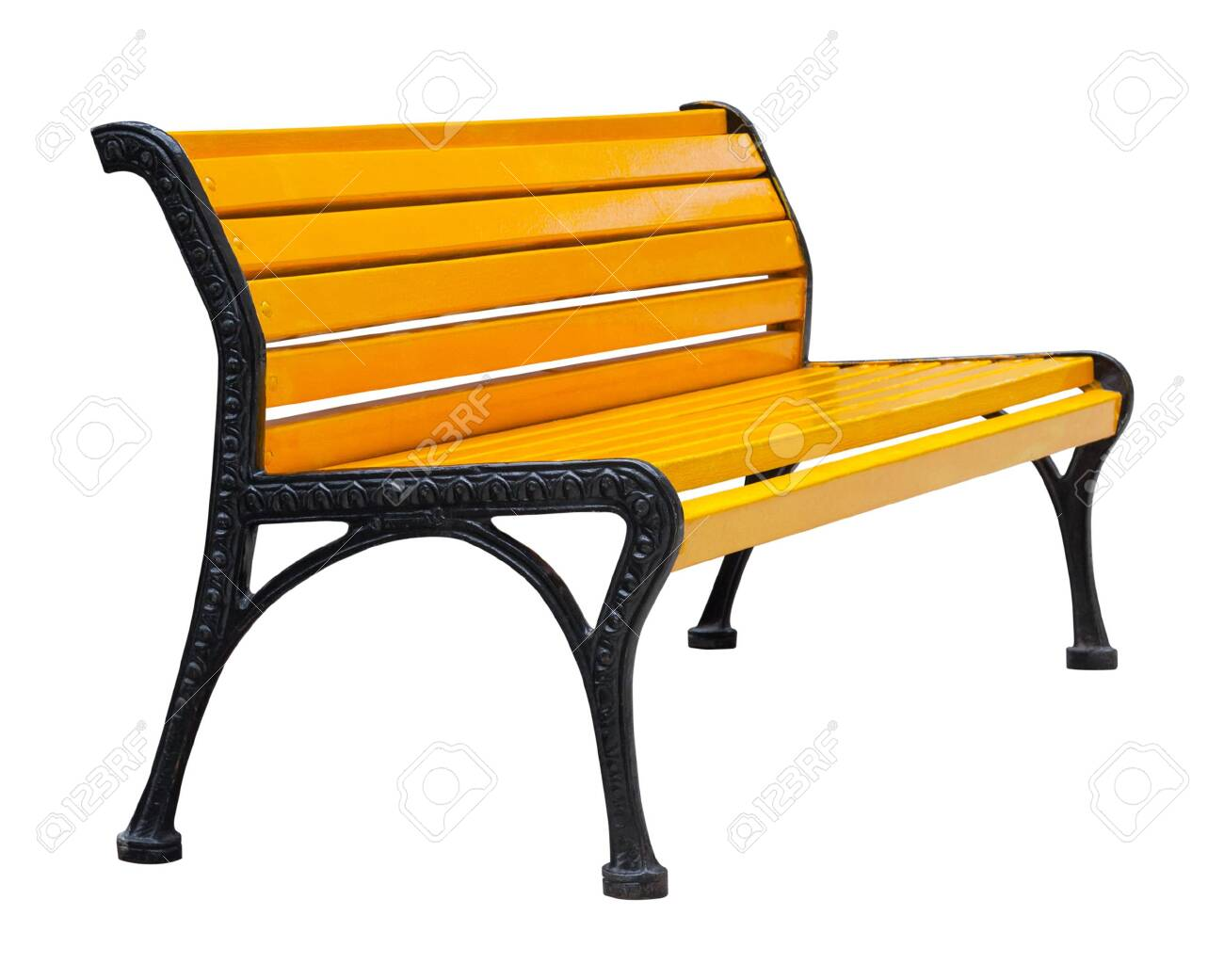 Side View On A Colorful Wooden Bench Painted Orange With Black