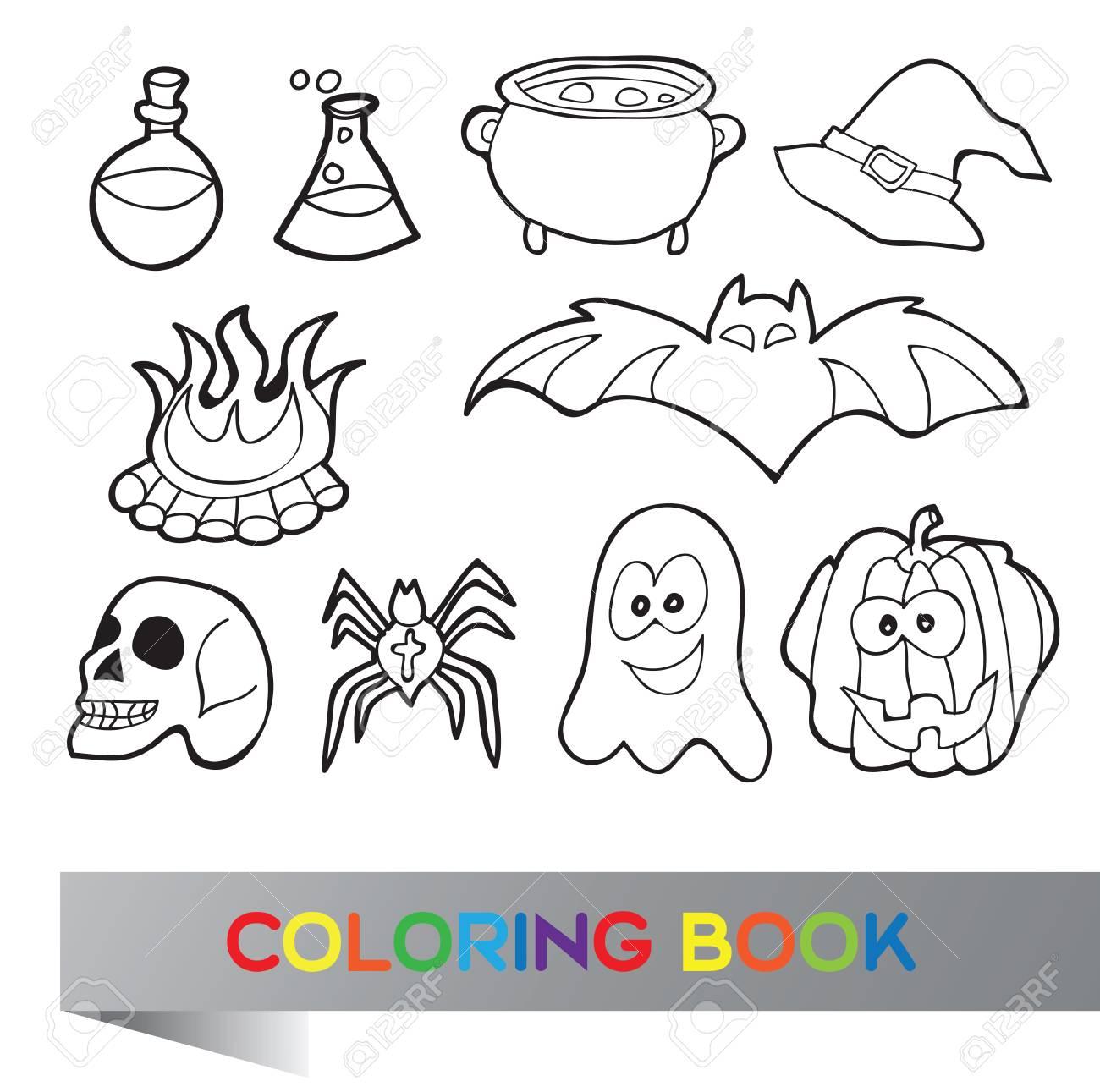 Halloween Conjunto - Libro Para Colorear Con Imágenes Divertidas ...
