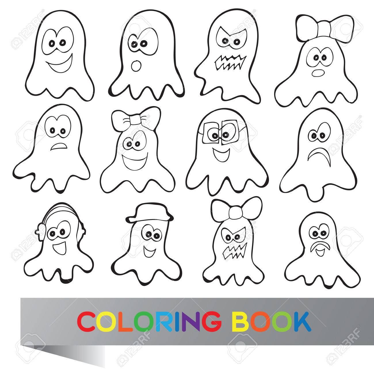 Libro Para Colorear De Halloween - Ilustración Vectorial Con ...