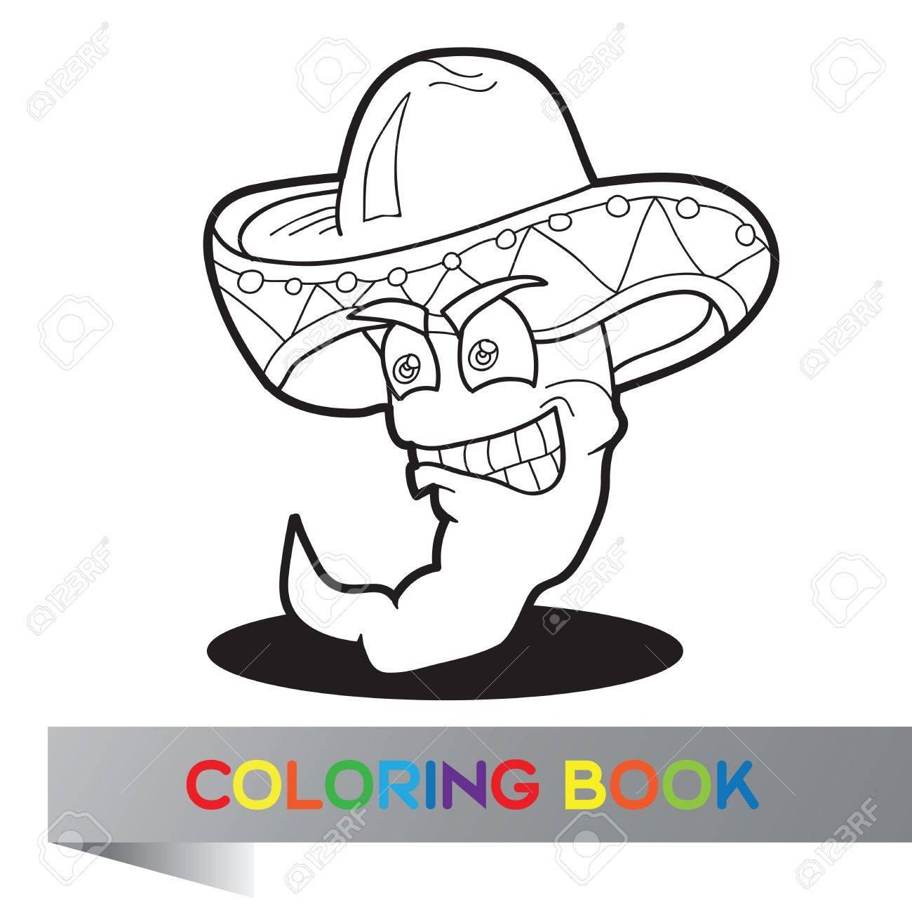 Foto de archivo - Libro para colorear con pimienta mexicano - ilustración  vectorial a537f40cb27