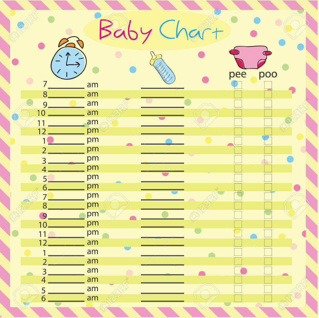Baby Feeding And Diaper Schedule - Baby Chart For Moms - Colorful ...