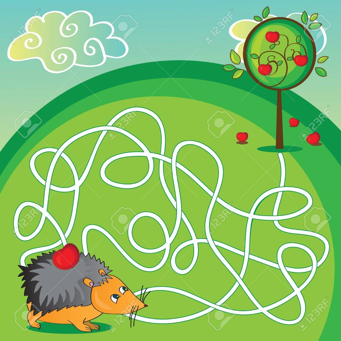 Maze For Kids - Puzzle - Help The Hedgehog To Get To The Apple ...