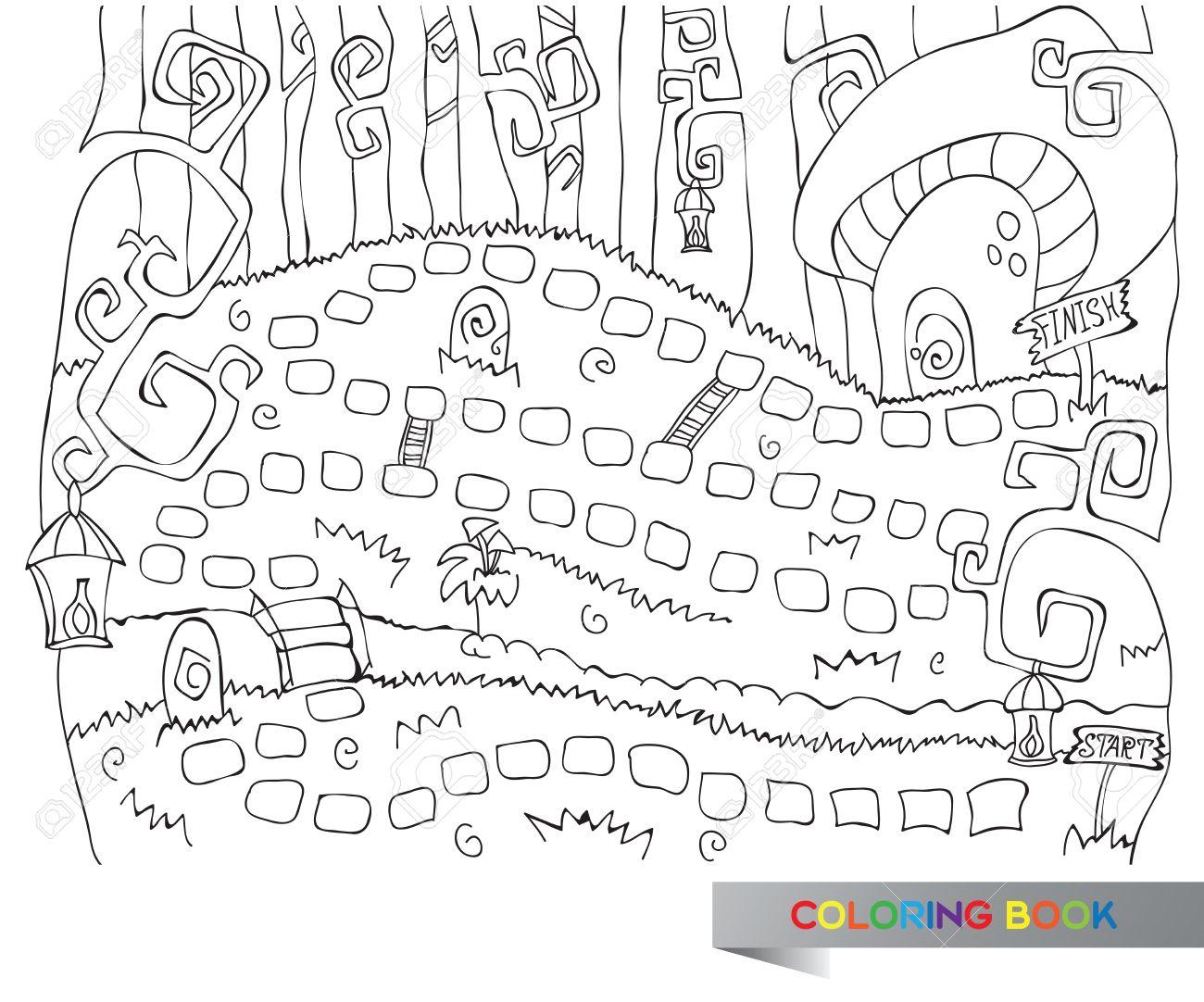 Vector Illustration Of Board Game For Children - Coloring Book ...
