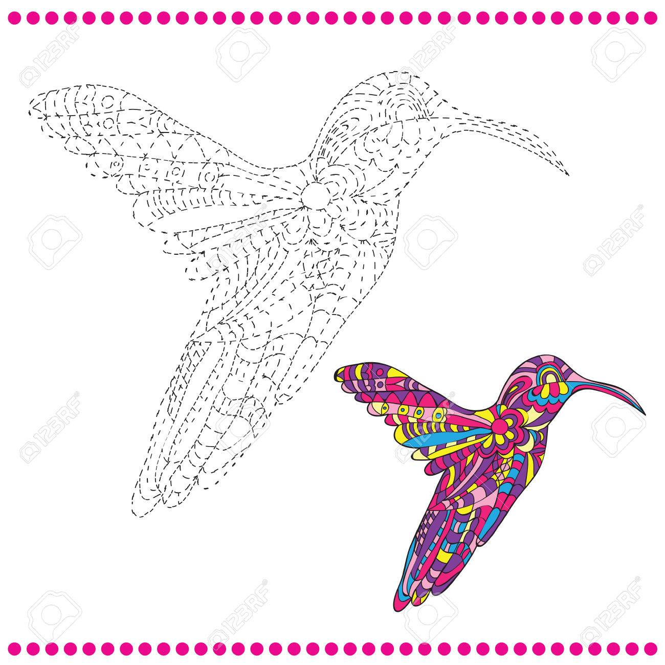 connect the dots and coloring page hummingbird royalty free