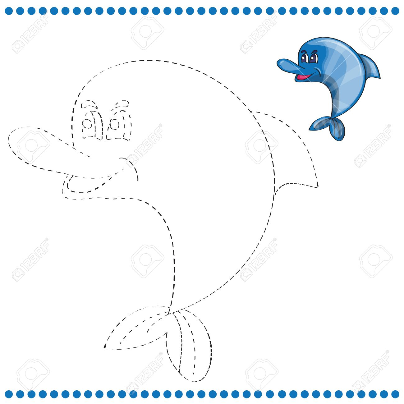 Connect The Dots And Coloring Page With Funny Dolphin Royalty Free ...