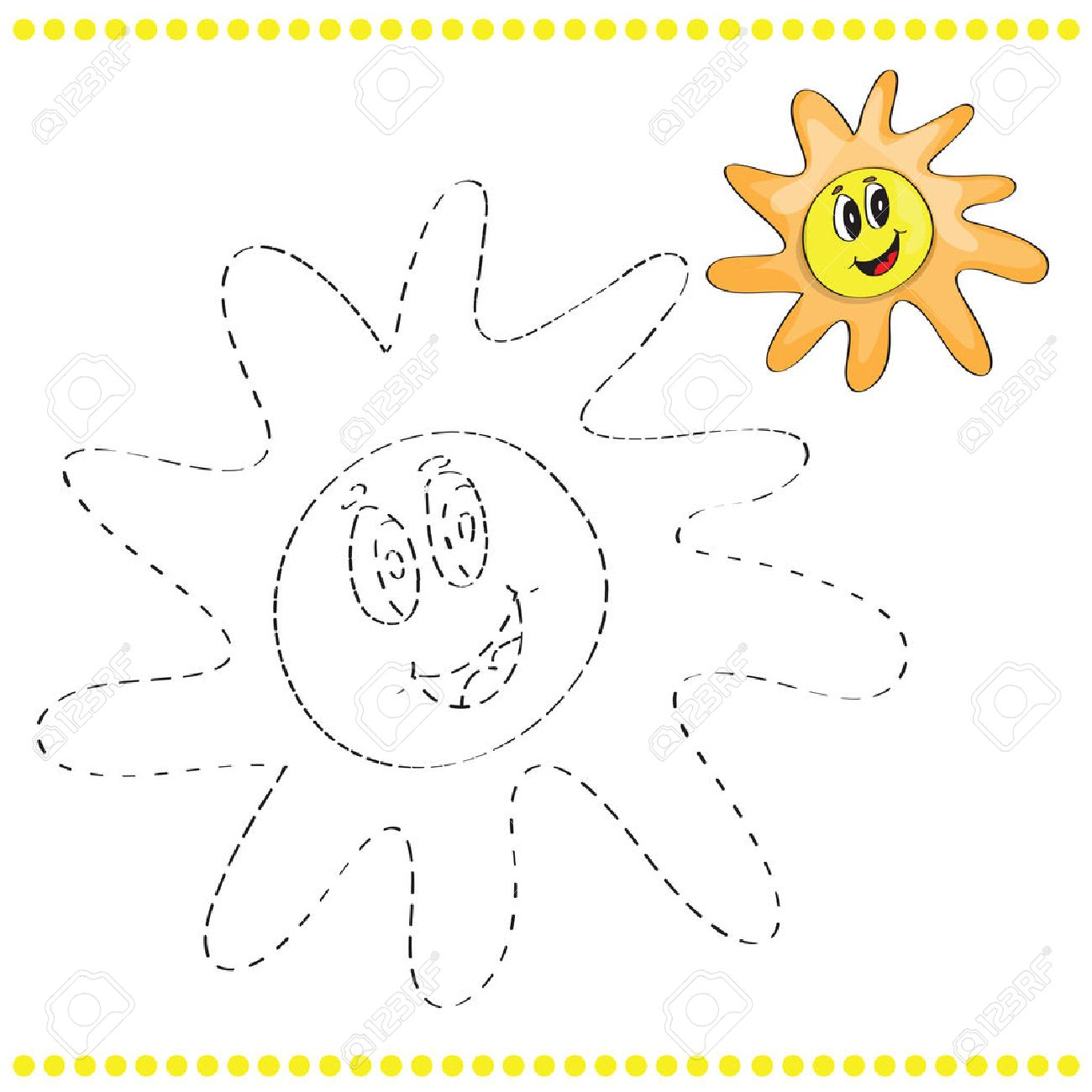 Connect The Dots And Coloring Page With Sun Stock Vector