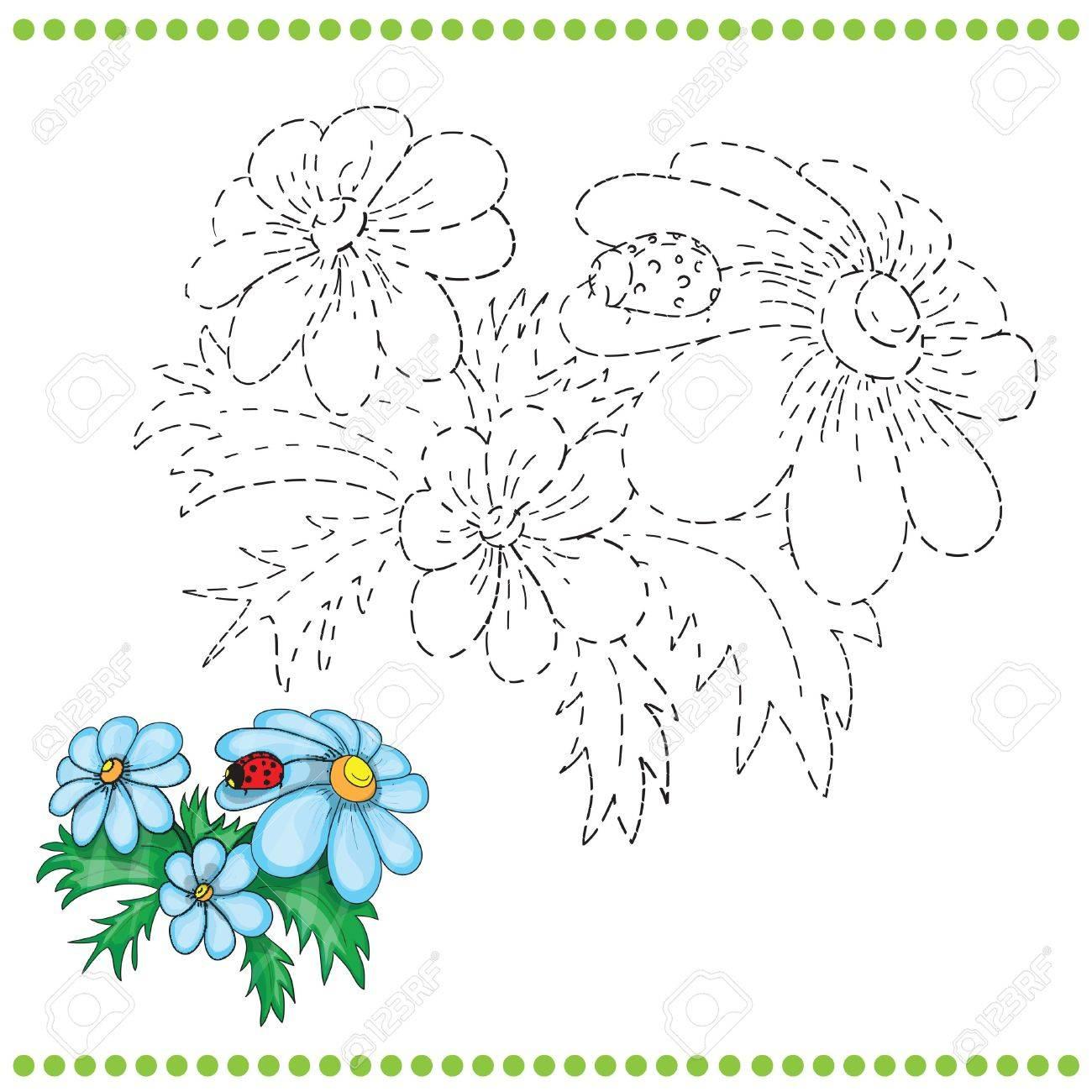 Conecte La Página De Puntos Y Colorear Con Hierba Y Flores ...