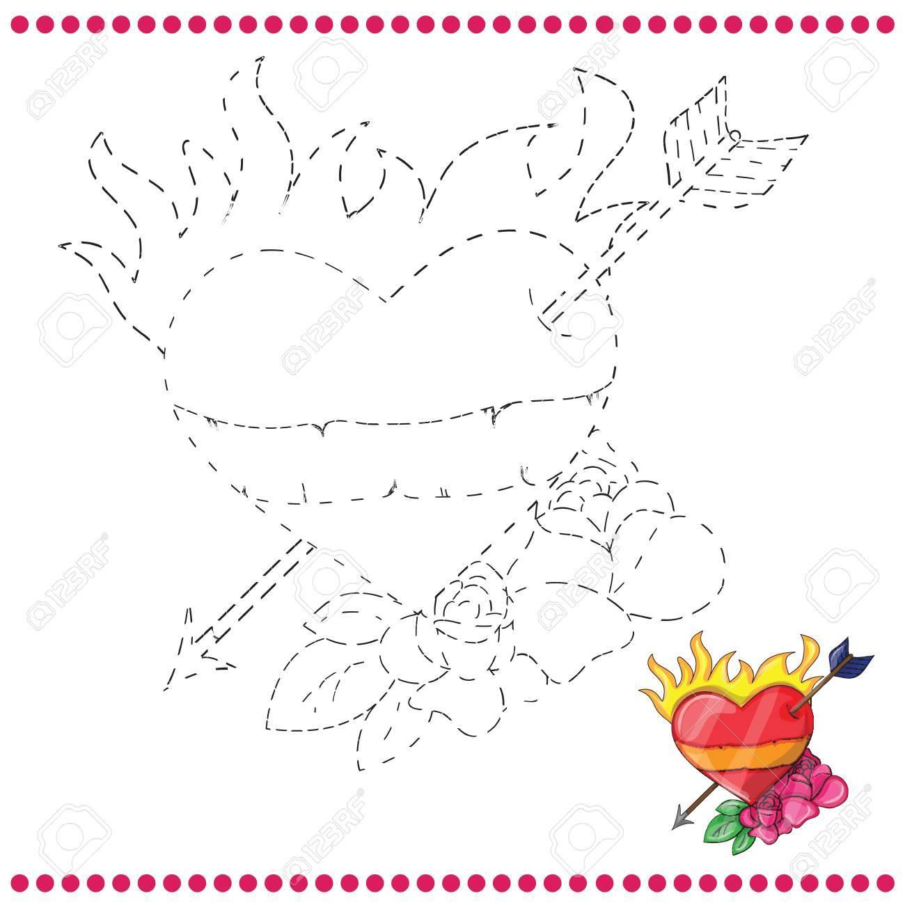 Une Los Puntos Y Página Para Colorear Con Corazón Ilustraciones ...