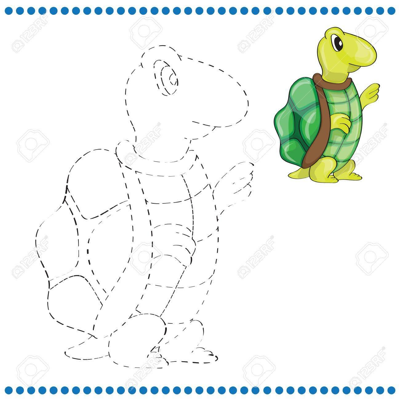 Verbinde Die Punkte Und Malvorlagen Mit Schildkröte Lizenzfrei ...