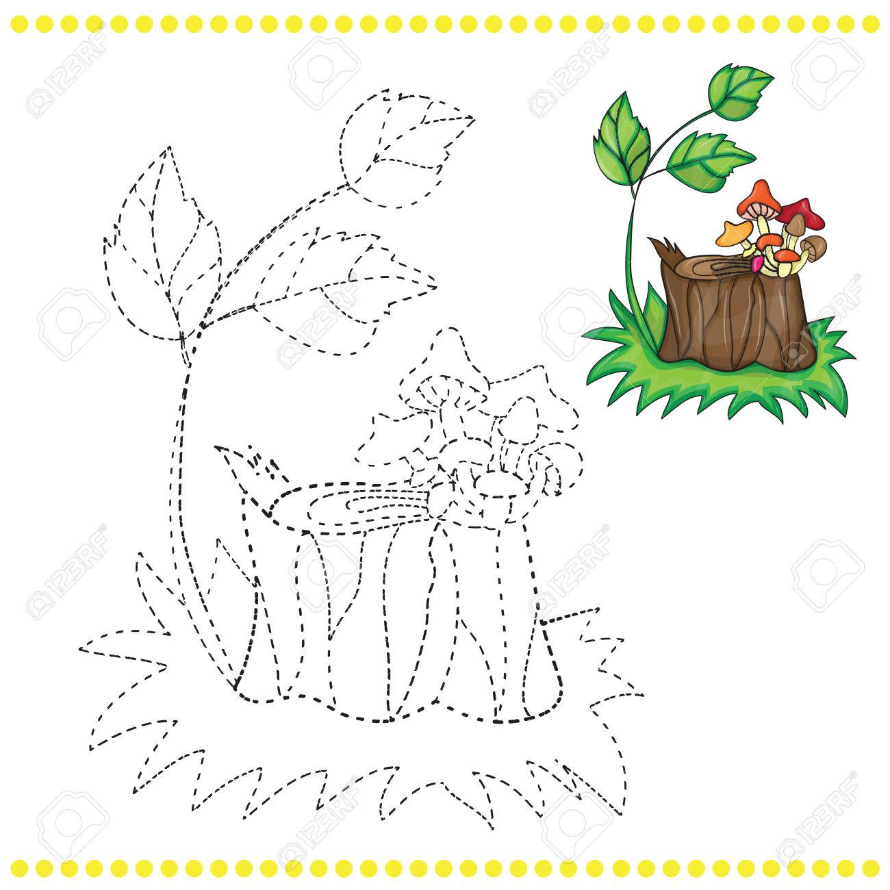 connect the dots and coloring page grass stump and mushrooms