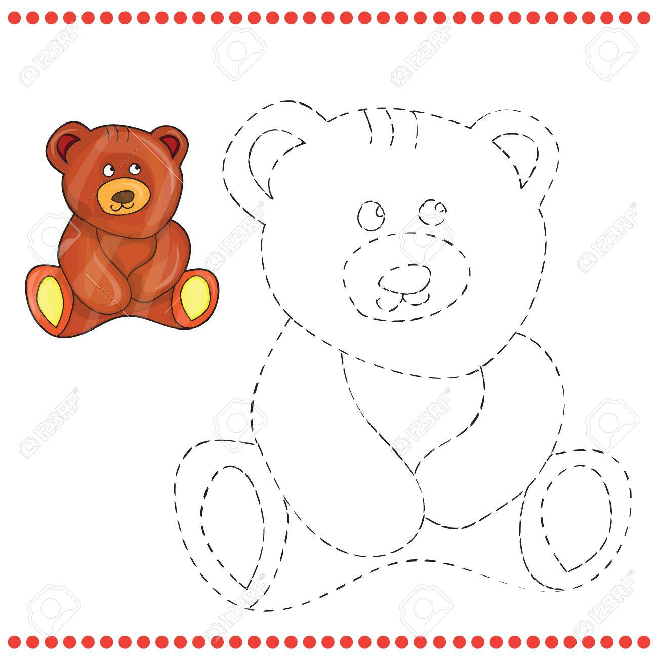connect the dots and coloring page teddy bear royalty free