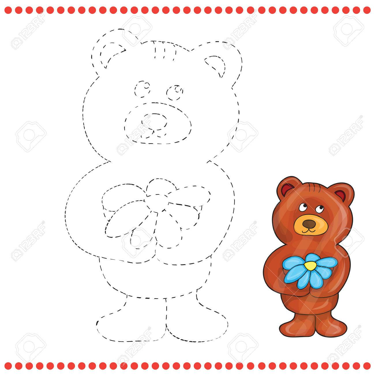connect the dots and coloring page teddy bear stock vector