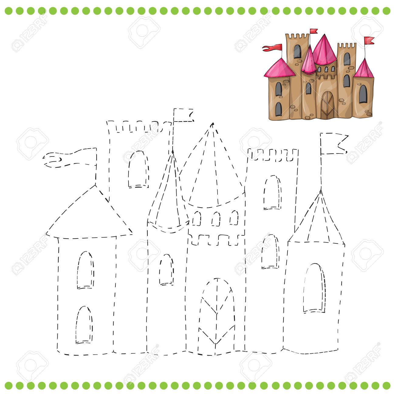 connect the dots and coloring page castle royalty free cliparts