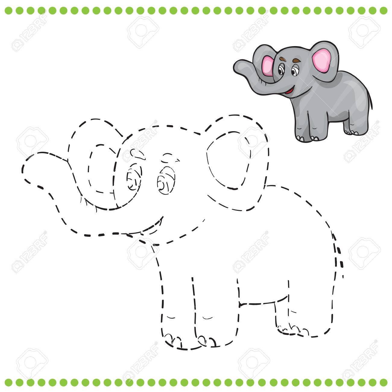 Une Los Puntos Y Página Para Colorear Elefante