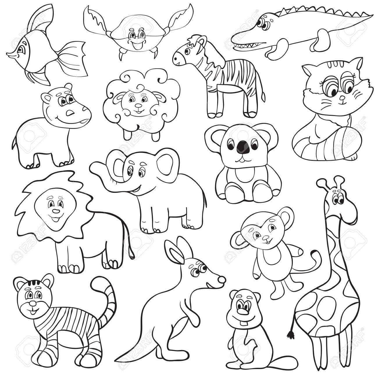 塗り絵ベクトル イラストかわいい動物 漫画セット のイラスト素材