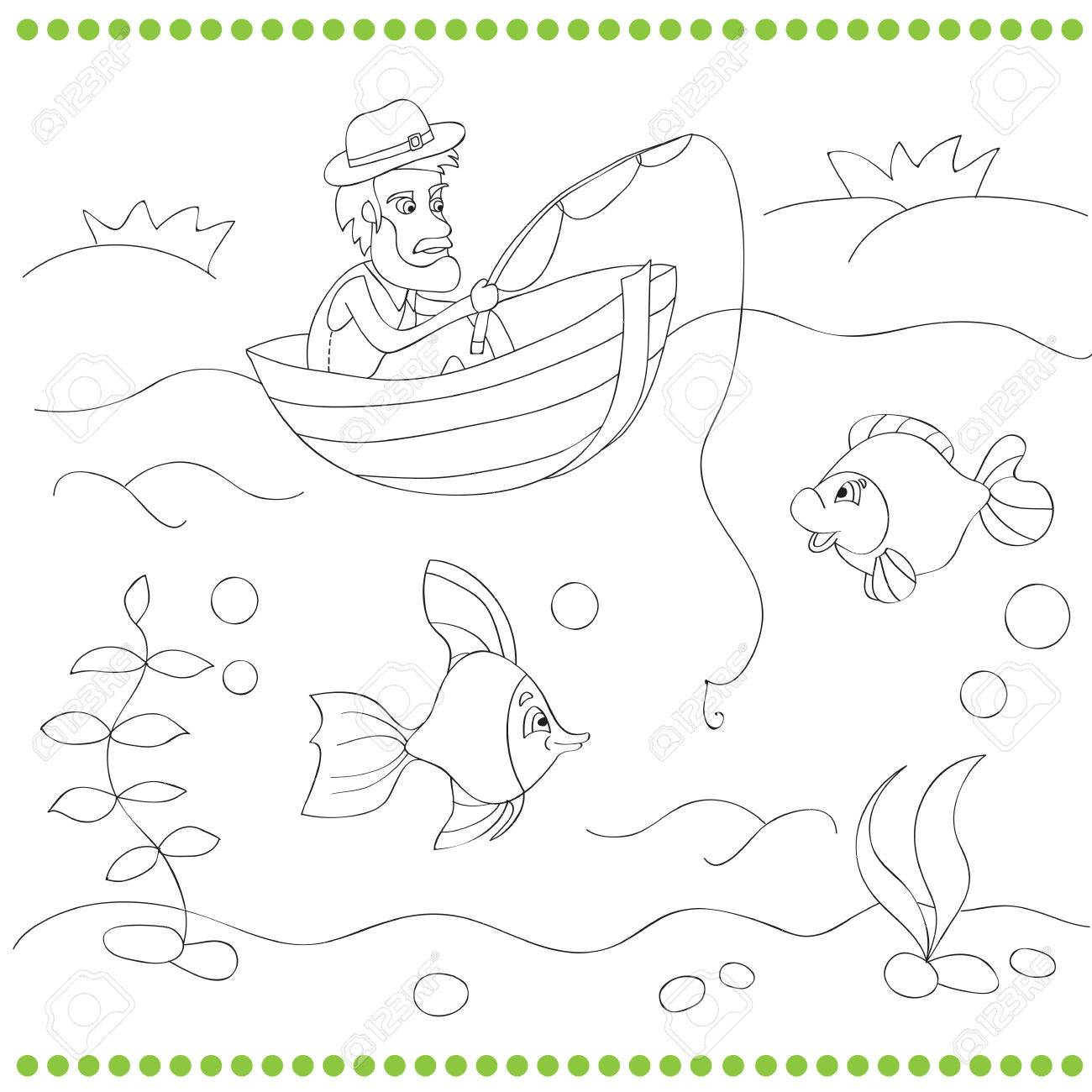 Coloring Book For Kids With Fisherman Vector Illustration Stock