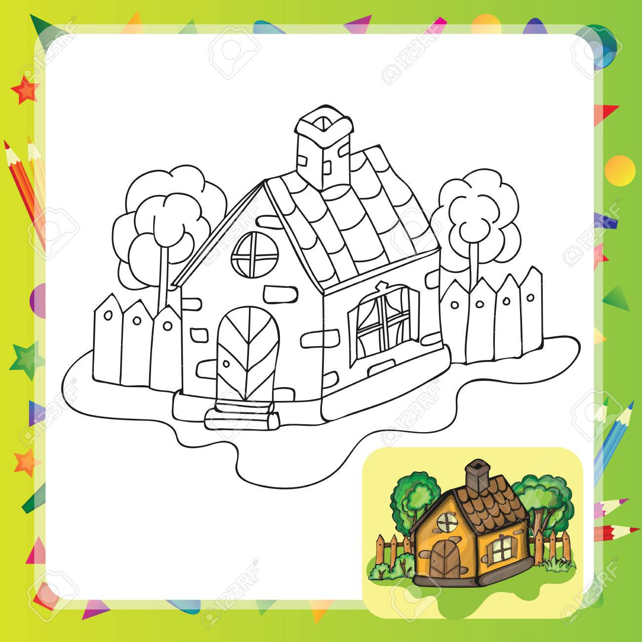 Stylized Countryside House With A Garden Coloring Book Stock Vector