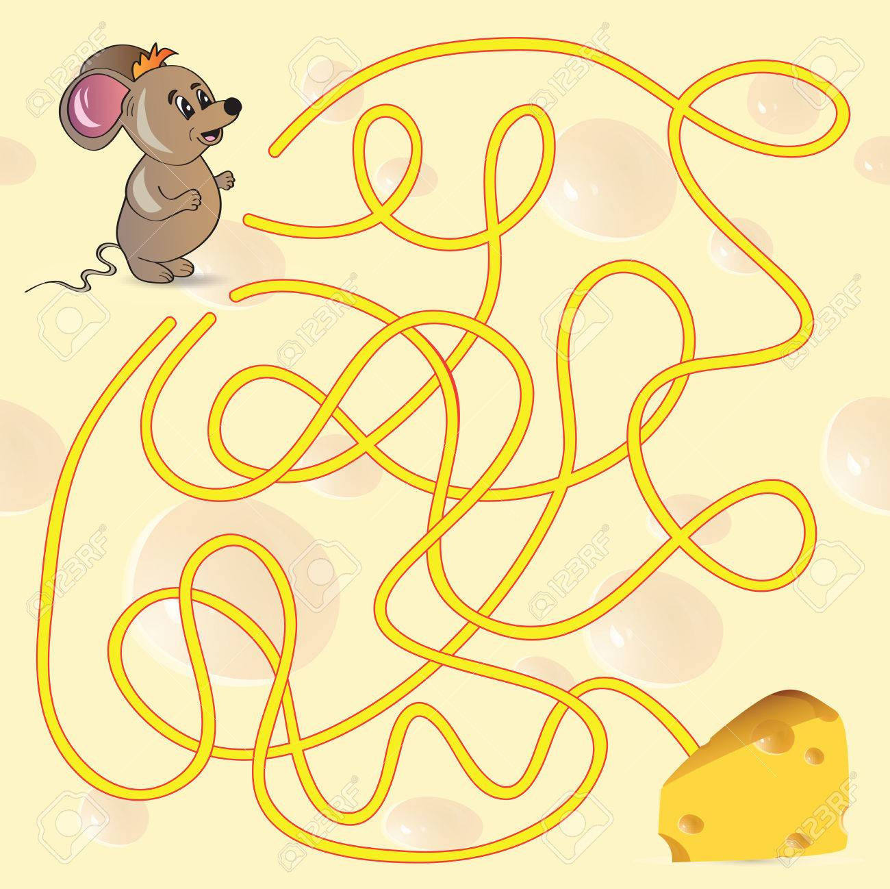 cute mouse s maze game help mouse to find his cheese illustration