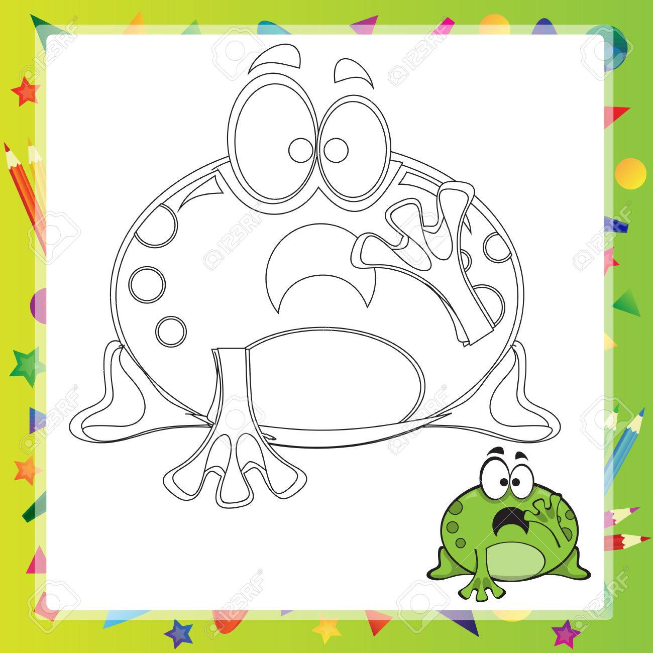 Illustration Of Cartoon Frog - Coloring Book - Vector Royalty Free ...
