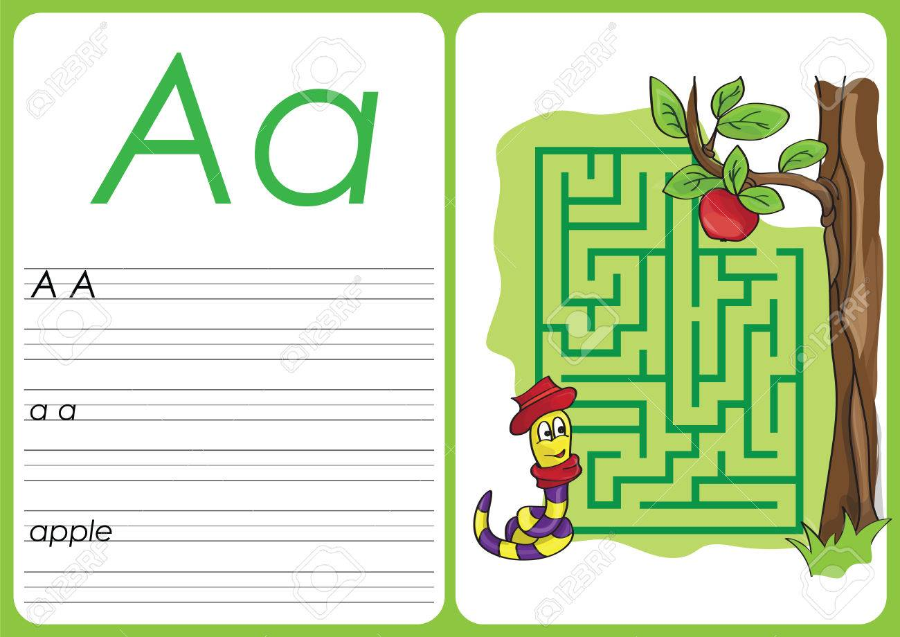 Alphabet A-Z - Puzzle Worksheet - A - Apple Stock Photo, Picture And ...