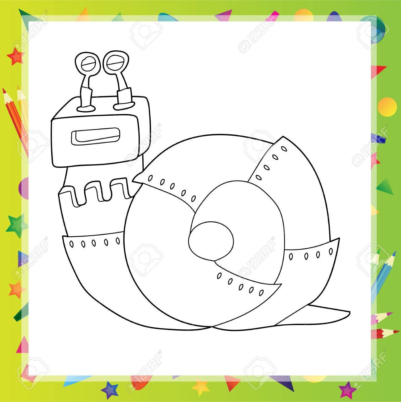 Ilustración Vectorial De Dibujos Animados De Caracol Robot Libro Para Colorear